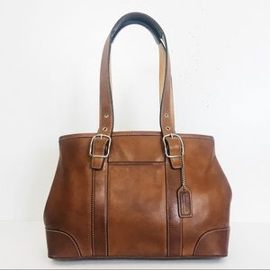 Coach Hamptons Distressed Leather Satchel Carryall